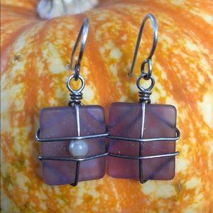 Glass purple earring
